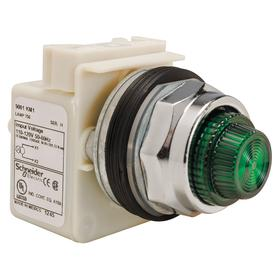 Schneider Electric Pilot Light Complete: 24V AC/DC, Full Volt, Without Lens, Chrome Plated, Clear, Pressure Plate