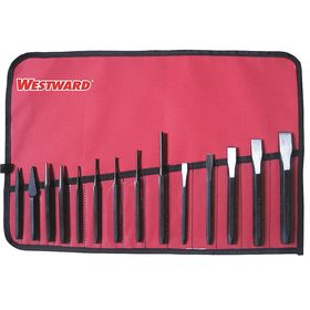 Punch & Chisel Combination Set: 14 Total # of Pieces, Steel, Imperial, 7 Chisels, 7 Punches