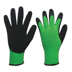 Coated Glove: Polyester, Knit Cuff, Natural Rubber Latex, Black/Green, M Size, ANSI Compliant Yes, CE Compliant, 1 PR