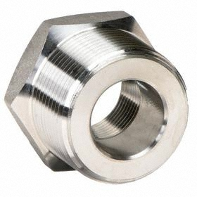 Threaded Stainless Steel Bushing: 316 Material Grade, 3000 Class, 1 1/4 Pipe Size (Port 1), 1 Pipe Size (Port 2)