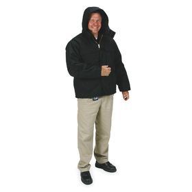 Hooded Arctic Coat: XL Size, Black, 1000-Denier Condura Nylon, 57.5 in Max Chest Size, Waist Lg Type, 12 oz Material Wt
