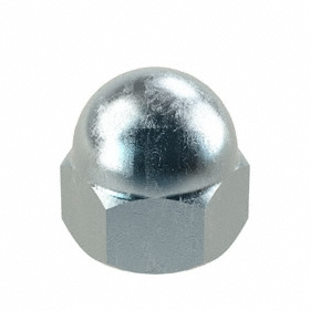 "Standard Crown Acorn Nut: Steel, Zinc Plated, 1/4""-28 Thread Size, 1/4 in Thread Dp, 15/32 in Overall Ht, 25 PK"