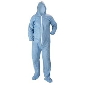 Flame Resistant Hooded Coverall with Boot: NFPA 2113, M Size, Pyrolon Plus 2, Blue, Zipper, Attached Hood, Unisex, 25 PK
