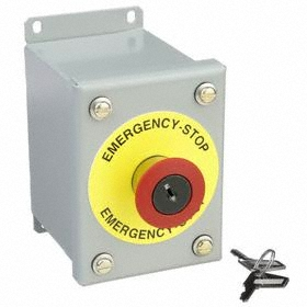 GE Emergency Stop Push Button Station: Red, 4.25 in Overall Wd, 5 in Overall Ht, 3.5 in Overall Dp, Round, Metallic Body