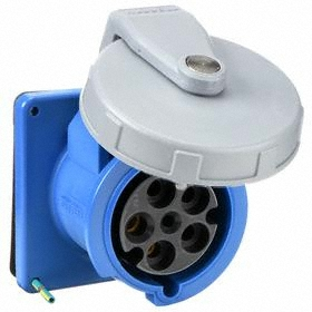 Hubbell IEC Non-Metallic Watertight Pin & Sleeve Female Receptacle: Three Phase, 5 Contacts, 60 Hz Volt Freq, 60 A Current