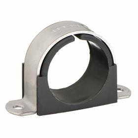 Surface-Mount Clamp: Pipe or Tube Clamp, For 3 1/2 in Max Tube Dia, For 3 Pipe Size, 5 53/64 in Overall Lg