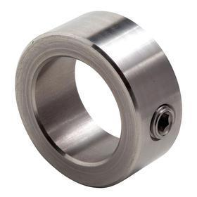 "Set Screw Shaft Collar: Inch, Stainless Steel, 3/8 in Bore Size, 3/4 in OD, 3/8 in Overall Wd, 1/4""-20 Screw Thread Size"