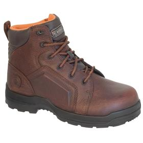 Rockport Leather Work Boot: Men, Composite, 6 in Shoe Ht, Brown, Waterproof, Electrical Hazard Rated, Better Mfr Suggested Sole Slip Rating, 1 PR