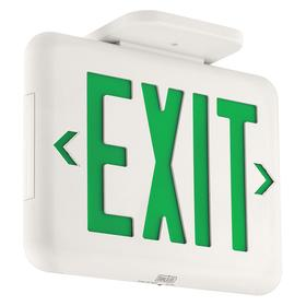 Hubbell Impact Resistant Plastic Lighted Exit Sign: 1/2 Faces, Directional Indicators, Green, 9 in Overall Ht