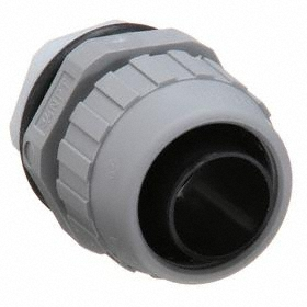 Hubbell Watertight Straight Connector: 3/4 Trade Size, Gray, PVC, 2.1875 in Overall Lg