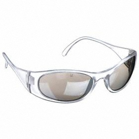 Safety Glasses: Full Frame, Gray Mirror, Scratch Resistant, White, ANSI Z87.1-2010