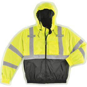 ANSI Class 3 Cut Resistant Bomber Jacket: 3XL Size, Polyester, Yellow/Green/Black, Storm Flap/Zipper, Attached Hood, Men