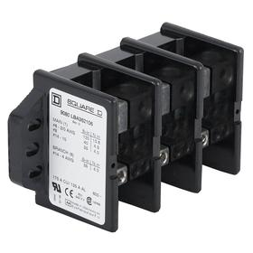 Schneider Electric Power Distribution Block: 2 Circuits, Open, 600V AC, 335 A Current, 1 Inputs per Circuit