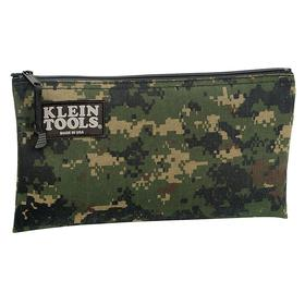 Klein Tools Zippered Tool Pouch: 7 in Overall Ht, 12 1/2 in Overall Wd, 1 in Overall Dp, Camouflage