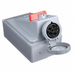 Hubbell Watertight Mechanical Interlock Device: Three Phase, 5 Contacts, 60 Hz Volt Freq, 60 A Current, 120/208V AC