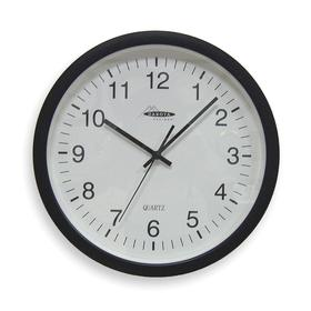 Clock: 13 3/4 in Dia, Plastic, Battery Power Source, AA, Analog, 1.75 in Dp, White, Polypropylene, Black, Glass, Wall