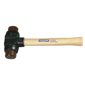 Split-Head Hammer: Rawhide, Wood, 24 oz Head Wt, 1 1/2 in Face Dia, 12 in Overall Lg, Iron