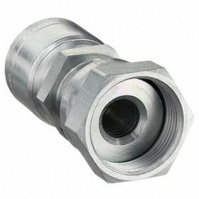 Eaton Hydraulic Hose Straight Fitting: Straight Crimp, Zinc Plated, Carbon Steel, For 1 in Hose Size, ORS, Female