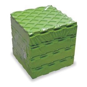 Heavy Duty Vibration Control Waffle Pad: Neoprene, Green, 90000 lb Max Load Capacity, 3/4 in Thickness, 8 in Lg, 4 PK
