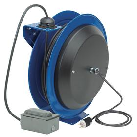 Retractable Cord Reel: Duplex GFCI Box Receptacle, Grounding Plug Reel  Power Cord End,