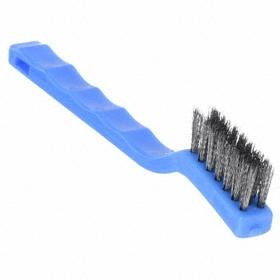 Corrosion Resistant Hand Brush: Stainless Steel, Contoured, Plastic, 0.006 in Bristle Dia, 1/2 in Bristle Lg, 5 PK