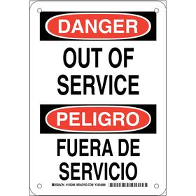 Brady Maintenance Sign: 10 in Overall Ht, 7 in Overall Wd, Aluminum, Mounting Holes, Danger/Peligro, English/Spanish