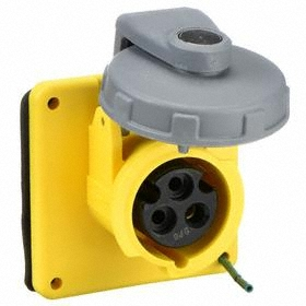 Hubbell IEC Non-Metallic Watertight Pin & Sleeve Female Receptacle: Single Phase, 3 Contacts, 60 Hz Volt Freq, 20 A Current, Nylon