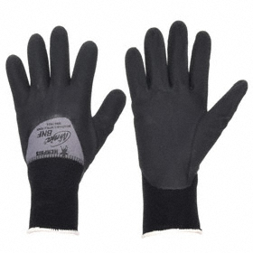 General-Use Work Glove: Coated Fabric Glove, L Size, 3/4 Dip, Nylon, Nitrile, Textured, Knit Cuff, Black/Gray, 1 PR