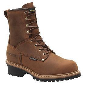 Carolina Leather Work Boot: Men, Steel, 8 in Shoe Ht, Brown, Insulated/Waterproof, Electrical Hazard Rated, Good Mfr Suggested Sole Slip Rating, 1 PR