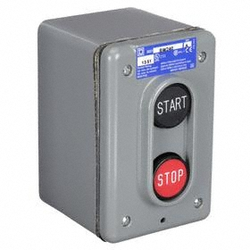 Schneider Electric Indoor Push Button Station: Momentary, Start-Stop, Black/Red, 2.76 in Overall Wd, 3.6 in Overall Ht