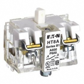 Eaton Push Button Contact Block: 12 A at 600V AC Contact Rating, 1NO Pole-Throw Configuration, Momentary, Clear