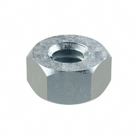 "Hex Nut: Steel, Zinc Plated, Grade 5 Material Grade, 1/4""-20 Thread Size, 7/16 in Wd, 15/64 in Ht, 100 PK"