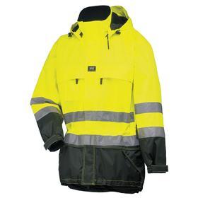 Helly Hansen Rain Jacket with Detachable Hood: Polyurethane, Yellow, Hook & Loop/Zipper, Men, S Size, ANSI Class 3
