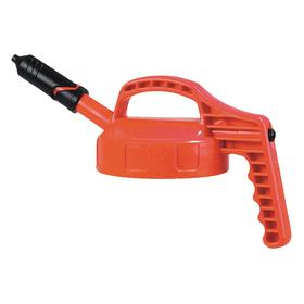 Quick-Identify Lid: Round, Precise-Pour Spout, Orange, High-Density Polyethylene, 5 13/16 in Lid OD, 7 5/8 in Overall Ht