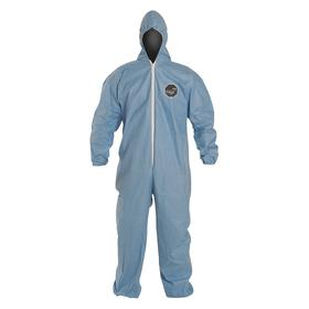 DuPont Flame Resistant Coverall with Hood: Tempro, Blue, Zipper, Attached Hood, 0 Pockets, Elastic, L Size, 25 PK