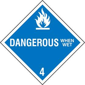 Stranco DOT Vehicle Placard: Dangerous When Wet, 10 3/4 in Overall Ht, 10 3/4 in Overall Wd, Plastic, Blue, Flame Symbol