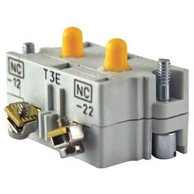 Eaton Push Button Contact Block: 0.5A at 120VAC Contact Rating, 2NO Pole-Throw Configuration, Momentary, Black