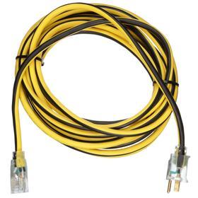 Extension Cord: 1 Outlets, 5-15 Plug NEMA Configuration, 5-15 Outlet NEMA Configuration, 125V AC, 50 ft Cable Lg, 12 AWG Conductor Size