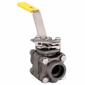 Ball Valve: 3-Piece, Full Port Classification, Carbon Steel, Stainless Steel, Locking Lever, Socket, 500° F Max Op Temp, TFM