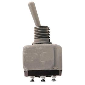 Honeywell Miniature Toggle Switch: 3 Positions, 5 A @ 28V DC Switch Rating, 1/4 in Mounting Hole Dia, 1 Poles, On-Off-On