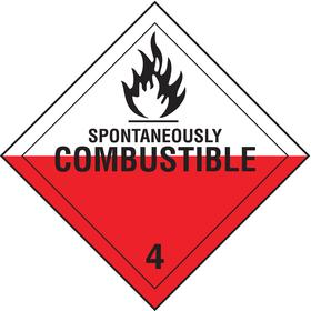 Brady DOT Vehicle Placard: Spontaneously Combustible 4, 10 3/4 in Overall Ht, 10 3/4 in Overall Wd, Tagboard, Slide-In