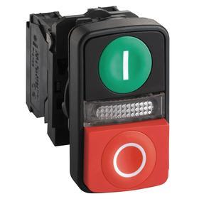 Schneider Electric I/O Push Button Switch: 22 mm Panel Cutout Dia, 3 Operators, Illuminated, Momentary, Rectangular