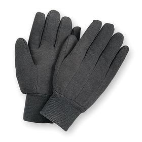 Work Glove: Fabric Glove, L Size, Added Grip, Knit Cuff, Cotton, Brown, 1 PR