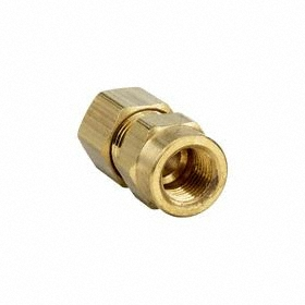 Parker Hannifin Brass Compression Tube Connector: Female, NPT, 5/16 in Port 1 Tube Size, 1/8 Pipe Size (Port 2), 10 PK
