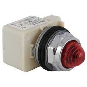 Schneider Electric Pilot Light Complete Unit: 12V AC/DC, Full Volt, Chrome Plated Zinc Die Cast, Pressure Plate, Domed