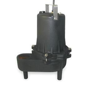 Submersible Sewage Pump: 2/5 hp Input Horsepower, Manual, Continuous Motor Duty Class, Cast Iron, 1 Phase, 115V AC
