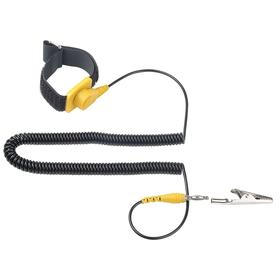 Antistatic Wrist Strap Assembly: Static Control, Alligator Clip, Black, Male, 10 ft Cord Extended Lg, Banana Jack, PVC