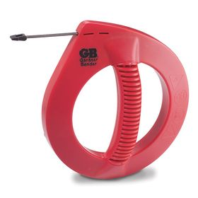 Fish Tape for Straight Runs: Steel, Flat, 25 ft Overall Lg, 1/4 in Tape Wd, 1/16 in Tape Thickness, Red