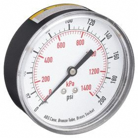 Test Pressure Gauge: Back, 1/4 in Gauge Port Size, NPT Gauge Connection Type, 3 1/2 in Dial Dia, psi, kPa, 0 psi Min Primary Pressure