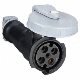 Hubbell IEC Non-Metallic Watertight Pin & Sleeve Connector: Three Phase, 4 Contacts, 60 Hz Volt Freq, 60 A Current, 600V AC